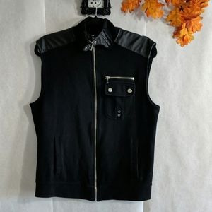 INC zip up cotton vest with faux leather trim Sz M